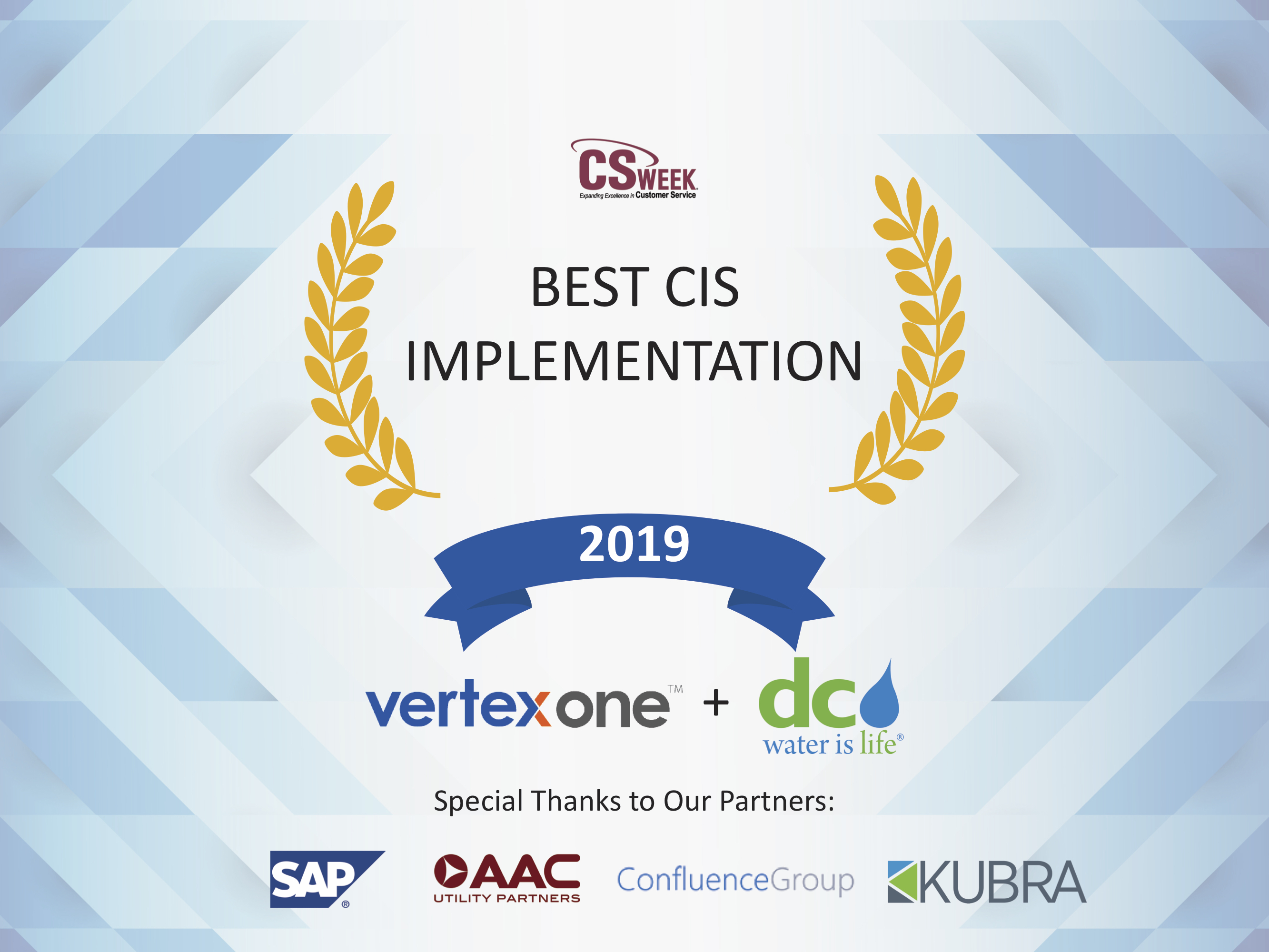 DC Water's VertexOne Customer Platform Initiative Recognized with Best CIS Implementation Awardr